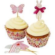Kit 24 Caissettes et Déco à Cupcakes Bébé Rose