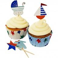 Kit 24 Caissettes et Déco à Cupcakes Bébé Bleu