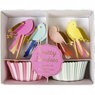 Kit 24 Caissettes et Déco à Cupcakes Jolis Oiseaux