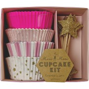 Kit 48 Caissettes et 24 Décos à Cupcakes Etoiles Roses et Or