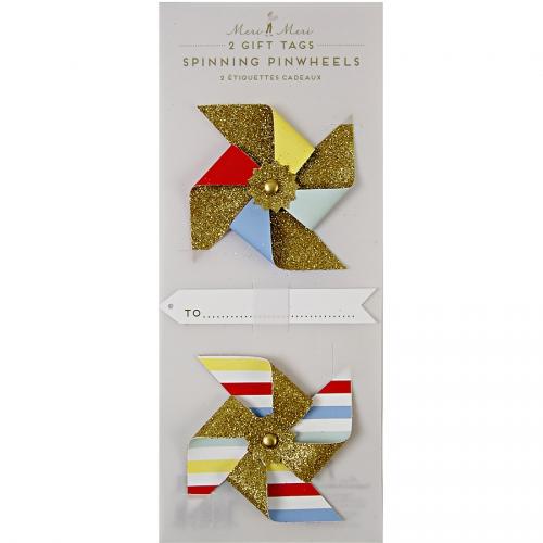 2 Moulins à vent Etiquette cadeau Glitter Or