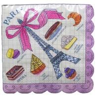Contient : 1 x 20 Petites Serviettes Paris Gourmand
