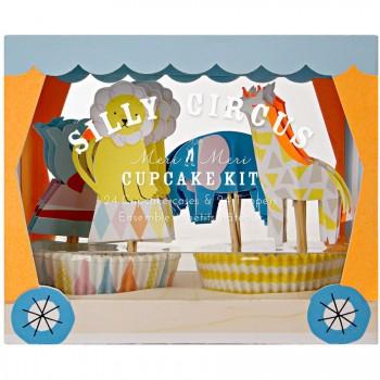 Kit 24 Caissettes et Décos à Cupcakes Silly Circus