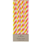 24 Pailles Rayées Fluo Silly Circus