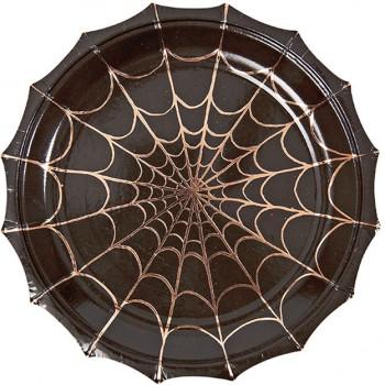 8 Petites Assiettes Halloween Araignée