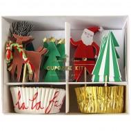 Kit 24 Caissettes et D�co Cupcakes No�l Fantaisie