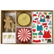 Kit 24 Caissettes D�co et Stickers Cupcakes Gingerbread