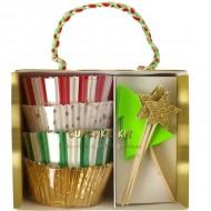 Kit 48 Caissettes et 24 D�co Cupcakes No�l Fun