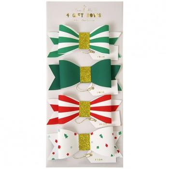 4 Étiquettes Cadeaux Noeuds de Noël