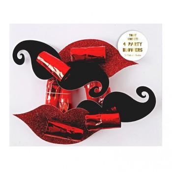 4 Sans-gênes Moustache et Bisous
