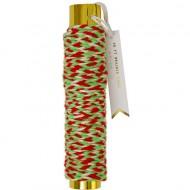 Laine tressée Vert Blanc Rouge Or (9 m)