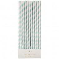 24 Pailles Papier Vintage Vert pastel
