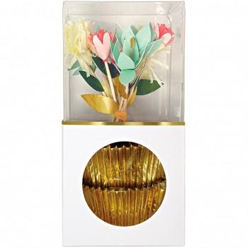 Kit 24 Caissettes et Déco Cupcakes Fleurs Or