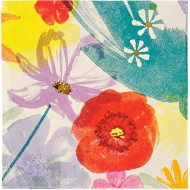 16 Petites Serviettes Fleurs Romance