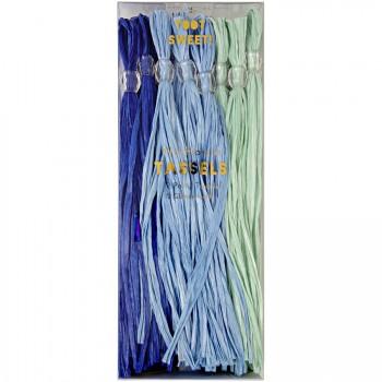 12 Pompons Trio Bleu pour Guirlande ou Ballons