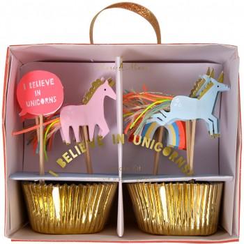 24 Caissettes et Déco à Cupcakes Licorne