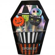 Kit 24 Caissettes et Déco Cupcakes Halloween Team