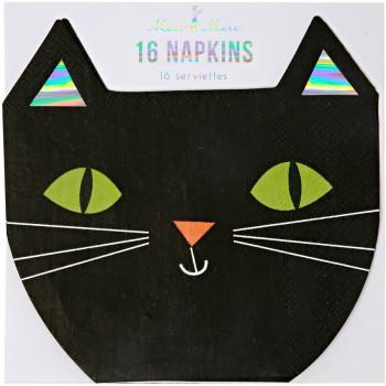 16 Petites Serviettes Chat noir