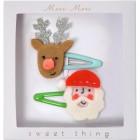 2 Barettes Père Noël et Renne