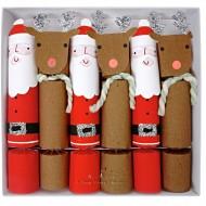 6 Grands Crackers Père Noël et Renne
