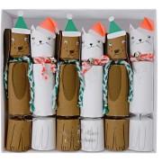 6 Petits Crackers Toutous et Matous de Noël (17 cm)