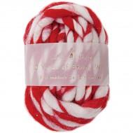 Laine rayée Rouge et Blanc (9 cm)