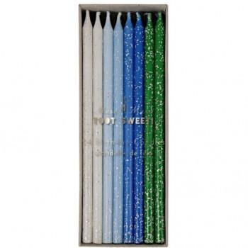 24 Bougies Camaïeu Bleu, Vert, Blanc et Argent