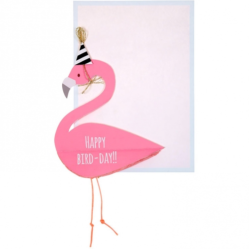 Carte Happy Birthday Flamant Rose 3D