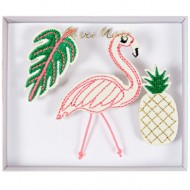 3 Broches Broderies Tropical Summer