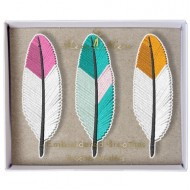 3 Broches Plumes Brodées Indian Summer