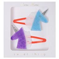 2 Barettes Licorne bleu/Violet - Feutrine