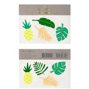 8 Tatouages Ananas et Feuilles Tropicales