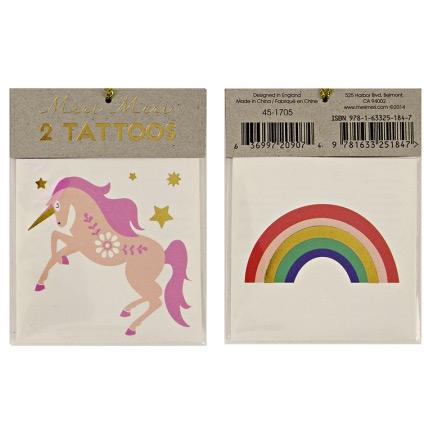 2 Tatouages Licorne & Rainbow