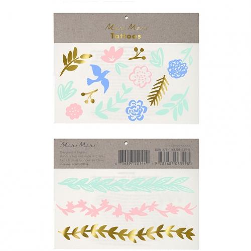 16 Tatouages Peace Flower Pastel
