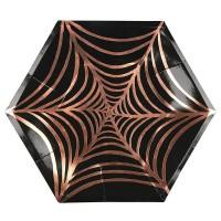 Contient : 1 x 8 Grandes Assiettes Araignée Cuivre (25 cm)