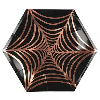 8 Grandes Assiettes Araignée Cuivre (25 cm)