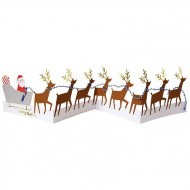 Carte Accordéon Père Noël et ses rennes (68 cm)