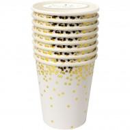 8 Gobelets Gold Confetti