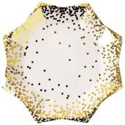 8 Petites Assiettes Gold Confetti