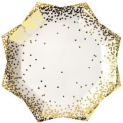 8 Assiettes Gold Confetti