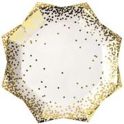 8 Assiettes Gold Confetti