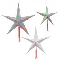 3 Grandes Suspensions Etoiles filantes (18, 25 et 28 cm)