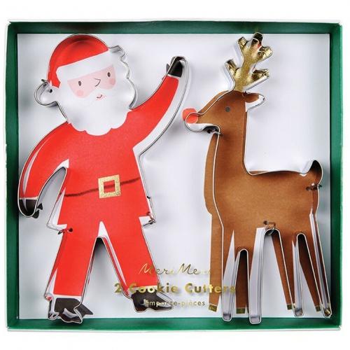 2 Emporte-pièces Père Noel et Renne (13 et 14 cm)
