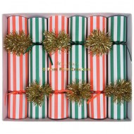 6 Petits Crackers Noël Rouge et Vert (19 cm)