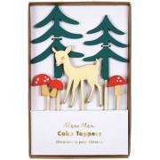 5 Décorations de Gâteau Faon dans la Forêt (5 à 11 cm) - Bois