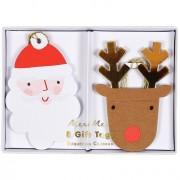 8 Etiquettes cadeaux Père Noel et Renne (8 cm)