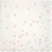 16 Serviettes Confettis Rose Iridescent