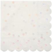 16 Petites Serviettes Confettis Rose Iridescent