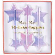 12 Pics Deco Etoiles Iridescentes (7 cm) - Plastique