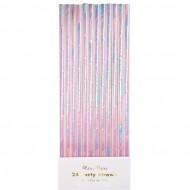 24 Pailles Papier Iridescentes